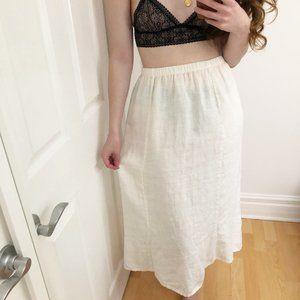 Flax 100% Linen Creamy White Lagenlook Midi Skirt